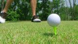 Golfer Teeing Off With Driver stock footage