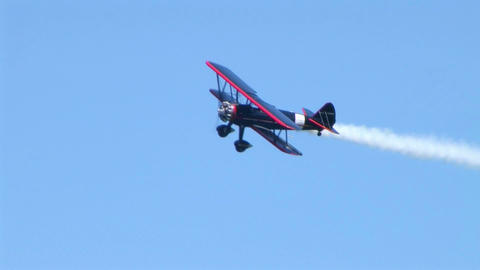 Biplane Trails Smoke 02 stock footage