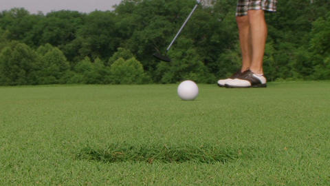 Golf Putt Hits Camera stock footage