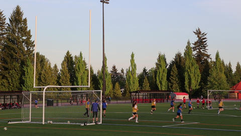 Young Girls Practicing Soccer stock footage