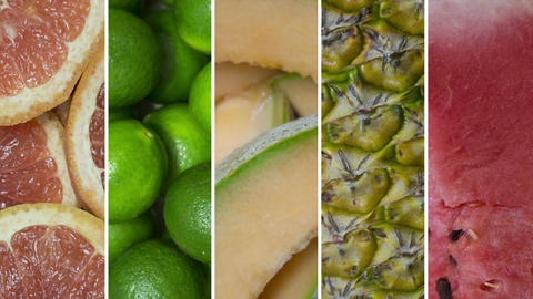 Fresh Fruits Collage stock footage