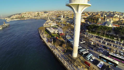 Uskudar View From Near The Radar Tower In Istanbul stock footage