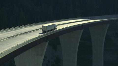 Truck On High Bridge 02 stock footage