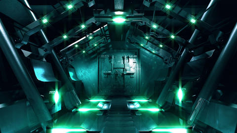 Steel gate opening in science fiction tunnel Animation