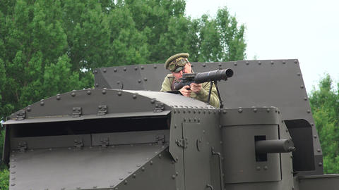 The Gunner Is Shooting From An Armored Car. The Fi stock footage