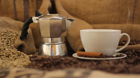 Coffee Makineta Macchiato Italian Coffee-maker Cof stock footage