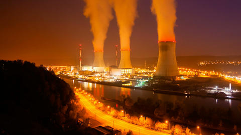 Nuclear Power Station At Night Time Lapse Footage