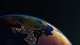 Earth view from space with night city lights. Euro Animation