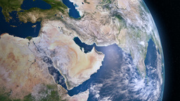 Earth 3d View From Space. Middle East stock footage