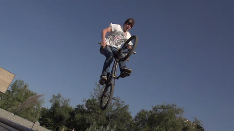Flying On A Bike stock footage