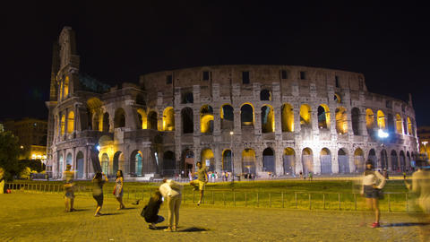 ROME, ITALY MAY 29, 2014: The Colosseum Night Time stock footage