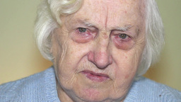 Sad, pensive old woman 2 Footage