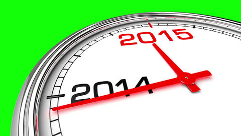 New Year 2015 Clock (Green Screen) stock footage