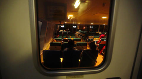 Passengers In A Small Ferry stock footage