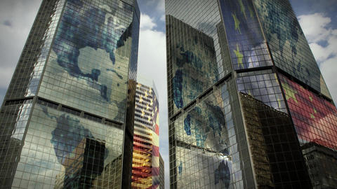 (1186) City Skyscrapers Business Office Buildings Architecture Clouds International Flags LOOP stock footage