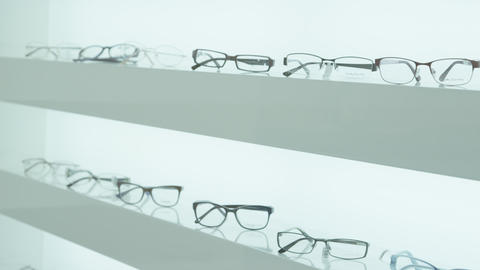 Glasses On The Shelf In Eye Clinic stock footage