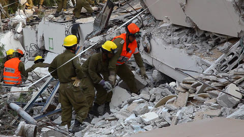Soldiers Search For Earthquake Casualties Digging stock footage