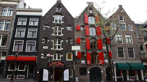 Amsterdam Red Light District, Erotic Museum, Holla stock footage