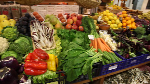 Vegetables In Italian Market stock footage
