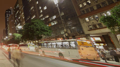 Commuters ride buses home at Avenida Presidente Va Footage