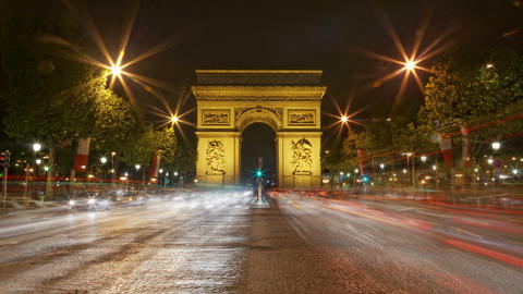 4K UHD Arch Of Triumph At Night, Paris, France Tra stock footage