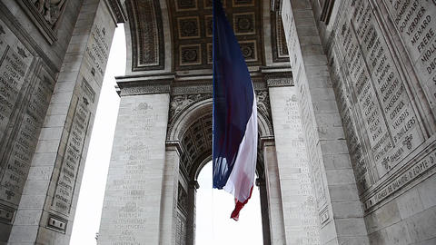 French Flag Under Arch De Triumph During Victory D stock footage