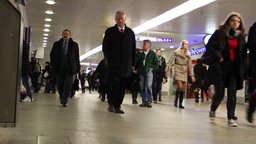 People At The Central Train Station In Warsaw 4 stock footage