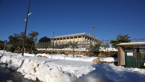 Snow in the Knesste - the parliament, Jerusalem, I Footage