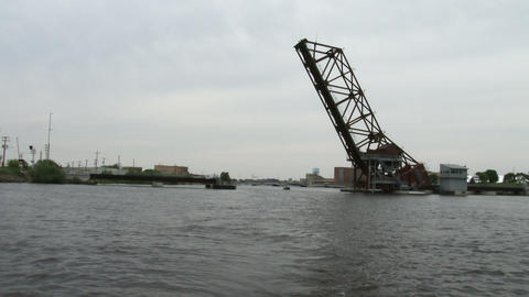 Lift bridge seen from the water Footage