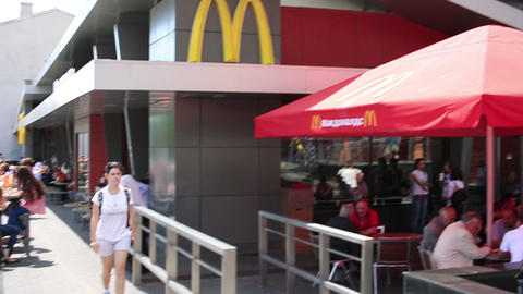 MOSCOW, RUSSIA - JUNE 2013: First McDonald's resta Footage