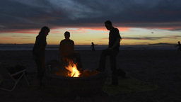 Beach Fire Pit And Friends stock footage