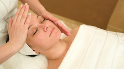 Facial Treatment With Professional Massage Of Cosm stock footage