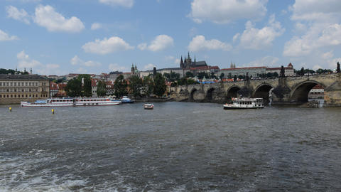 4k UHD Boat Traffic Charles Bridge Prague 11382 stock footage