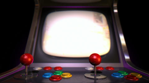 Arcade Machine Pan Across Game Over Rack Focus stock footage
