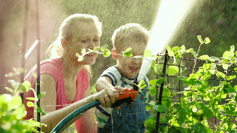 Mom and son watering the garden together Footage