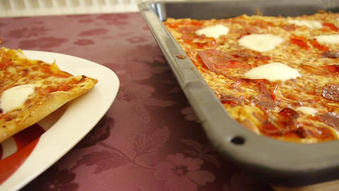 Home Made Pizza Cutting stock footage