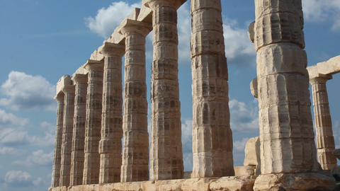 Sounion Temple Poseidon stock footage