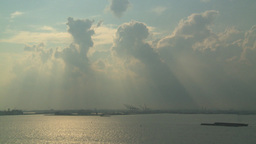 HD2008-8-10-15 God Clouds Bargs Industrial Upper Bay stock footage