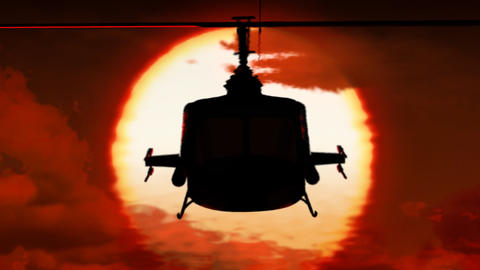 Helicopter In Sunset stock footage