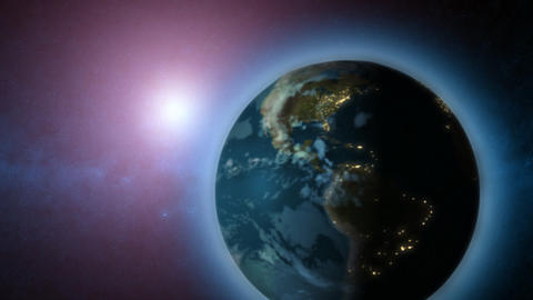 Rotating Earth with sun in background Animation
