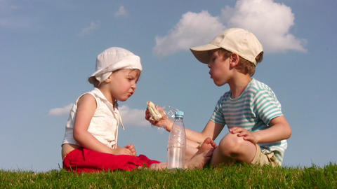 children with food on meadow 2 Footage