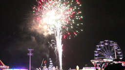 Fireworks Grand Finale Over A Carnival stock footage