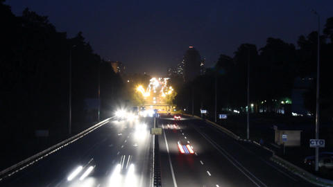 Heavy Traffic On The Freeway At Night stock footage