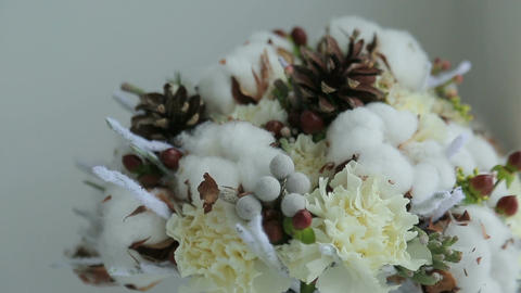 Winter bridal bouquet Footage