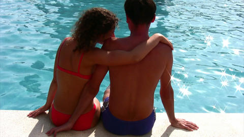 couple and pool Footage