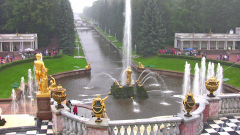 Samson And The Lion Fountain, Peterhof, Russia stock footage