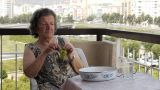 Old Retired Woman Eating Grapes On Balcony stock footage