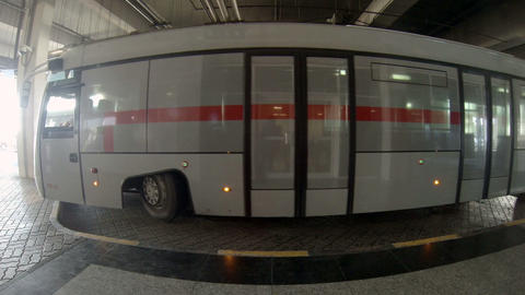 Passenger bus parked at the Sharjah International  Footage