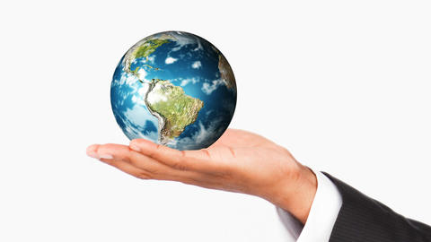 Human Hand Holding The Earth Planet. World Protect stock footage