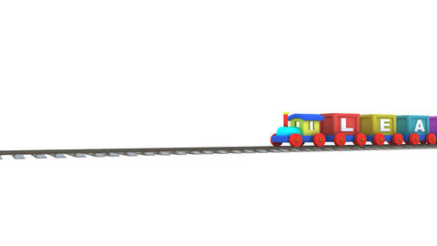 Animation of a 3d train carrying learning letters CG動画素材